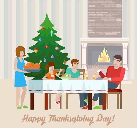 family holiday: Flat design vector Happy Thanksgiving Day postcard greeting card template, family at the festive table with fireplace, turkey. Holiday flat collection.