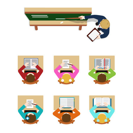 classrooms: Education training class teacher coach blackboard and student pupil. Flat top table view web concept school classroom tables. Website creative people conceptual collection.
