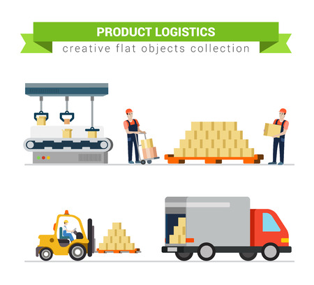 service: Logistics crate product package delivery service worker transport in process icon set flat modern web infographic concept vector. Pallet box loader truck loading process. Creative people collection.