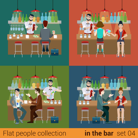 cocktail drink: Set of young men women boy girl friends in the bar counter and barman cocktail drink preparation. Flat people lifestyle situation concept. Vector illustration collection of young creative humans. Illustration