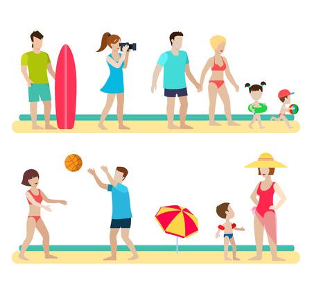 costume de bain: Style plat vie plage moderne gens familiale icônes situations template vecteur web infographique icon set. Le photographe couple surfeur enfants parentales parapluie de volley-ball. Hommes femmes mode de vie icônes.
