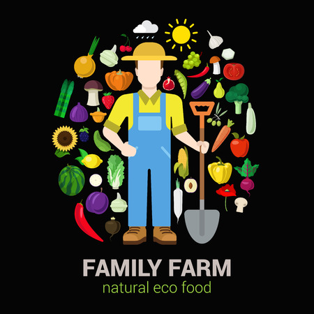 agriculture icon: Farmer with shovel and harvest products icons. Stylish quality detail icon set farm fruit vegetable berry mushroom plants. Agriculture concept. Food farming collection.
