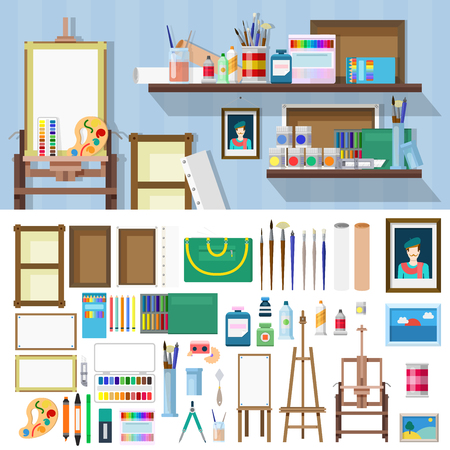 workshop: Flat style art workshop icons objects kit template mockup. Icon set to build artist workplace. Kits collection.
