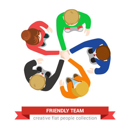Friendly team hand on hand support motto. Office table top view business flat web infographic concept vector. Staff around table working. Creative people collection. Illustration