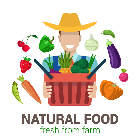 people  male: Flat style modern professional farm owner farmer shop job related icon man workplace objects. Male figure cowboy hat bag fruit vegetable. People at work collection.