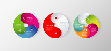3 5: Disc style set of 3 stylish multicolor circle infographics mockup template. 2, 3, 5 step circular numbered process. Infographic background concepts collection. Illustration