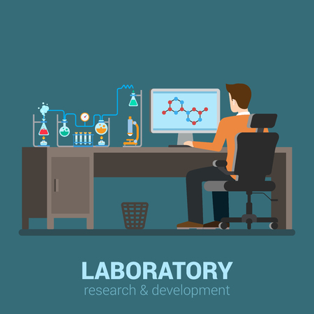 computer science: Lab worker table computer chemical research process. Pharmaceutical pharmacology science laboratory. Flat style modern professional job related icon man workplace objects. People at work collection. Illustration