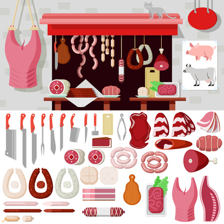 kits: Flat style butcher shop workplace icons objects kit template mockup. Icon set meat products tools to build butchery. Kits collection. Illustration