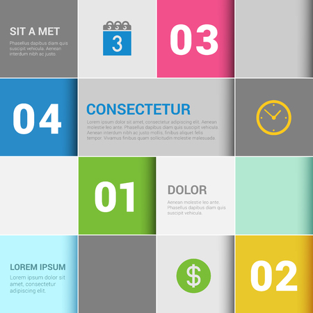 checkerboard: Simple stylish 4 step checkered checkerboard style multicolor infographics mockup template. Infographic background concepts collection. Illustration