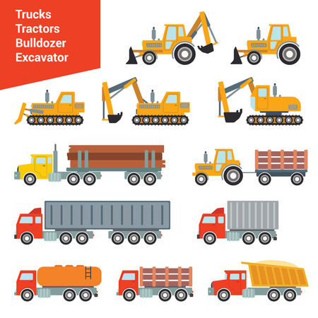 city icon: Flat city construction transport icon set. Excavator crane grader concrete cement mixer roller pit dump truck loader tow wrecker truck. Build your own world web infographic collection.