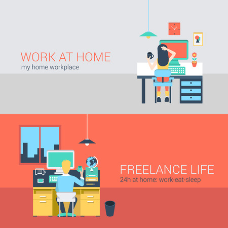 sit back: Set of young man woman home office freelance homework laptop table workplace. Flat people lifestyle situation work at home concept. Vector illustration collection of young creative humans. Illustration