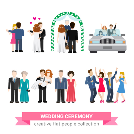 超結婚式結婚フラット スタイル インフォ グラフィック アイコン人々 を設定します。新婚妻夫花嫁新郎ダンスご新郎 bridesman アッシャー新婚旅行。クリエイティブ概念イラスト コレクション