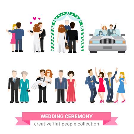 결혼식: 슈퍼 결혼식 결혼 플랫 스타일 인포 그래픽 아이콘 사람들을 설정합니다. 신혼 부부 아내의 남편 신부 신랑 댄스 손님 들러리 신랑 들러리 안내 신혼
