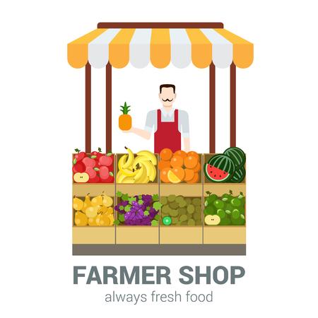 Food markt fruit winkel eigenaar verkoper. Vlakke stijl moderne professionele werk gerelateerde icon man werkplek objecten. Showcase box ananas appel banaan sinaasappel kiwi druiven peer. Mensen werken collectie