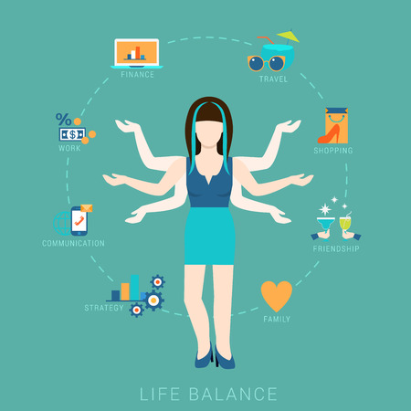 love strategy: Flat life balance many armed young woman abstract shiva lifestyle concept. Female figure with multi hands pointing to work income finance strategy love romance shopping friendship aspects.
