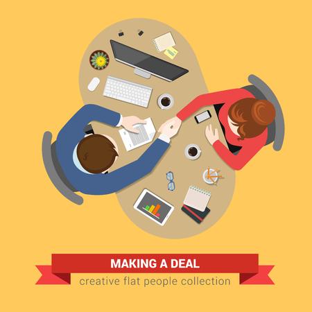 핸드 셰이크 거래 계약 topview 직장. 사무실 테이블 상위 뷰 비즈니스 플랫 웹 인포 그래픽 개념 벡터. 창의적인 사람들의 컬렉션입니다. 일러스트