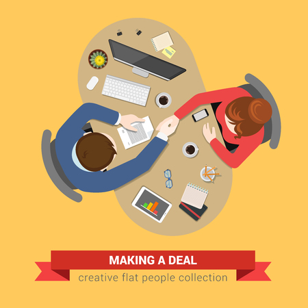 Handshake deal contract topview workplace. Office table top view business flat web infographic concept vector. Creative people collection. Illustration