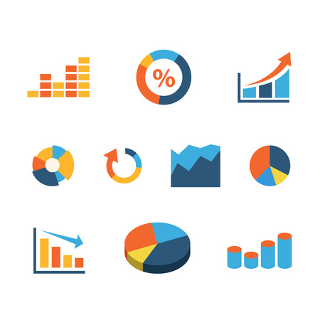 statistics icon: Flat web site interface graphic information data infographics icon set. Percent bar area slice circle line growth fall drop statistics internet concept icons collection. Illustration