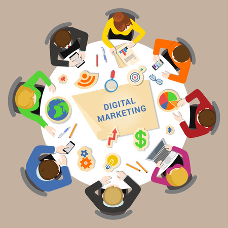 graphic business diagram collection: Digital marketing brainstorm concept. Round office table top view business flat web infographic concept vector. Staff around table chart bar circle diagram graphic. Creative people collection. Illustration