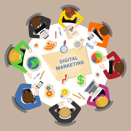 Digitales Marketing Brainstorming-Konzept. Round Bürotisch Draufsicht Business-Flachbahn-Konzept Infografik Vektor. Die Mitarbeiter um Tabelle Diagrammstab Kreisdiagramm Grafik. Kreative Menschen Kollektion. Vektorgrafik