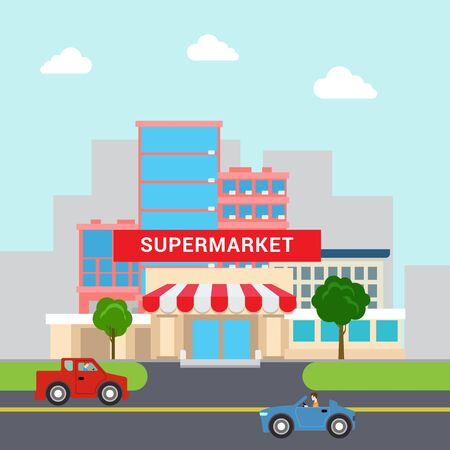 super market: Flat style funny cartoon supermarket mall building sale parking and transport street. Business marketing collection.