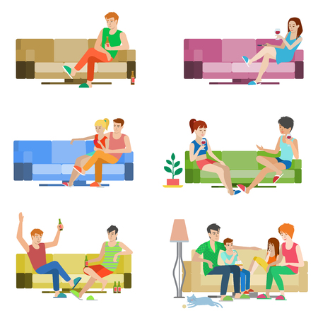 divan: Flat style vector people set of young beautiful people sitting on sofa. Boy girl couple friends family relax lounge divan wine beer. Creative human collection.