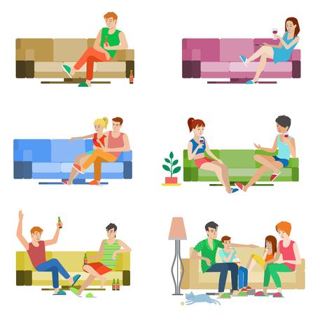 Stile piatto vettore persone set di giovani bella gente seduta sul divano. paio di amici della ragazza del ragazzo di famiglia sala relax birra vino divano. raccolta umana creativa. Archivio Fotografico - 54534878