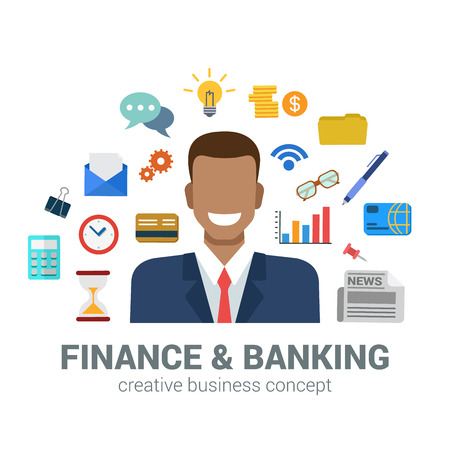 creative money: Flat style banking and finance concept. Happy smiling young black man financial bank credit card newspaper coin money savings office icon set around. Creative people business conceptual collection.