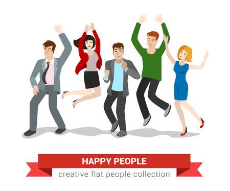 salto de altura grupo de jóvenes sonriendo feliz. estilo colección de plano las personas creativas.