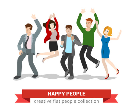 high jump: Happy smiling high jumping young people group. Flat style creative people collection.