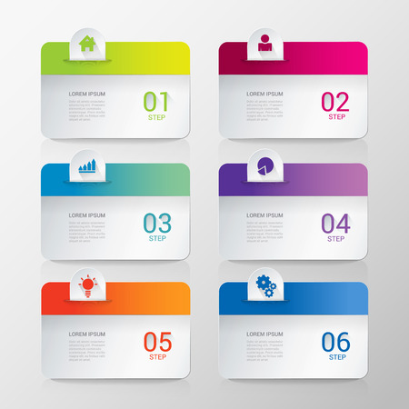 rounded: Simple stylish multicolor rounded rectangle labels backgrounds 6 step infographics mockup template. Infographic background concepts collection.