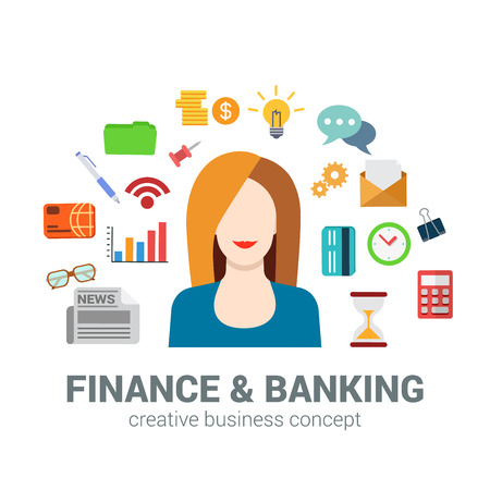 creative money: Flat style banking and finance concept. Happy smiling young beautiful woman financial bank credit card newspaper coin money savings office icon set. Creative people business conceptual collection.