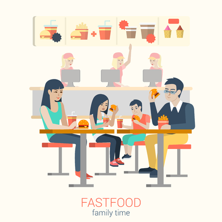 father daughter: Set of stylish happy smiling family mother father daughter son figures sitting fastfood table eating burger fries. Flat people lifestyle situation fast food cafe restaurant meal time concept. Illustration