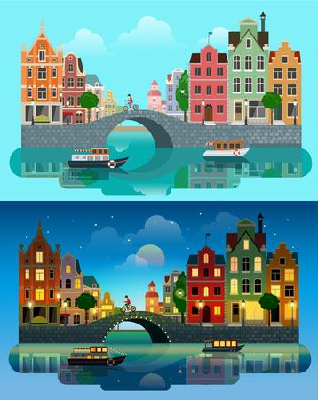 Flat cartoon multicolor kleurrijke historische gebouwen stadje dag en zonsondergang nacht Amsterdam Holland, Venetië Italië. River zee kanaal brug boot dijk fiets multi color straat Vector Illustratie
