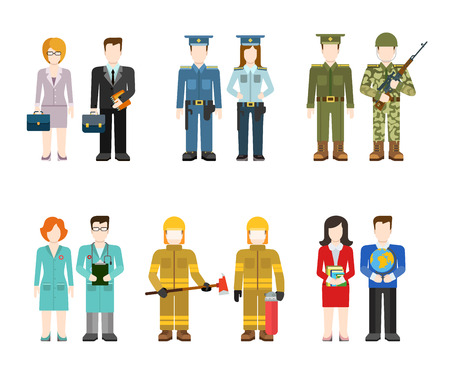 commander: Military army officer commander businessman policeman doctor fireman teacher people in uniform flat avatar user profile icon vector illustration set. Creative people collection.
