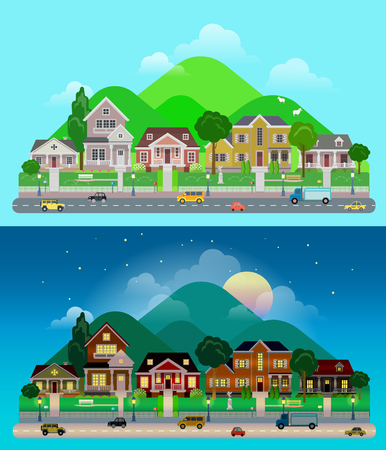 sun light: Flat cartoon city town suburb set day and sunset night hilly mountains on background. Road transport street traffic before line of low-rise buildings townhouse mansion house. World cities collection