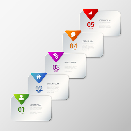 rounded rectangle: Simple stylish multicolor rounded rectangle labels backgrounds 5 step infographics mockup template. Infographic background concepts collection.
