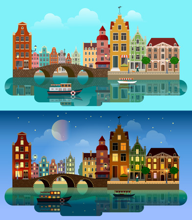 river boat: Flat cartoon multicolor colorful historic buildings city town suburb set day and sunset night Amsterdam Holland. River sea canal channel bridge boat embankment street. Urban life lifestyle collection.