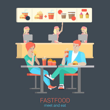 burger and fries: Set of stylish happy smiling flirt boy girl couple figures sitting fastfood table eating burger fries. Flat people lifestyle situation fast food cafe restaurant meal time concept