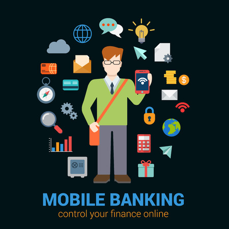 young business man: Flat style online mobile banking finance control access concept. Young man with tablet financial banking icon set around. Creative people business conceptual collection. Illustration