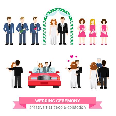 spousal: Super wedding ceremony marriage flat style infographic icon people set. Newlyweds wife husband bride groom dance best man groomsman bridesman usher honeymoon. Creative conceptual illustration collection.