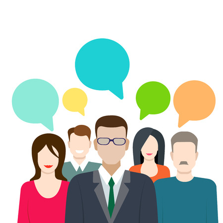 rumor: Social marketing word of mouth gossip flat web infographic internet online technology concept vector template. Groups of micro people and chat callout signs. Creative people collection. Illustration
