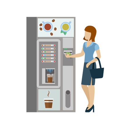 young businesswoman: Young woman female girl businesswoman before coffee automatic machine. Flat people lifestyle situation coffee break. Young creative human vector illustration collection. Illustration