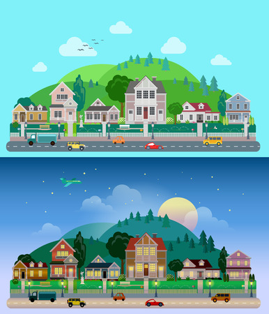 mansion: Flat cartoon city town suburb set day and sunset night hilly mountains on background. Road transport street traffic before line of low-rise buildings townhouse mansion house. World cities collection