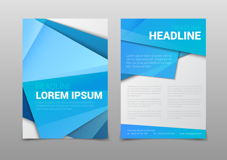 page layout: Stylish modern blue color polygonal attractive cover headline corporate company business document report brochure mockup template. Web site elements backgrounds collection.
