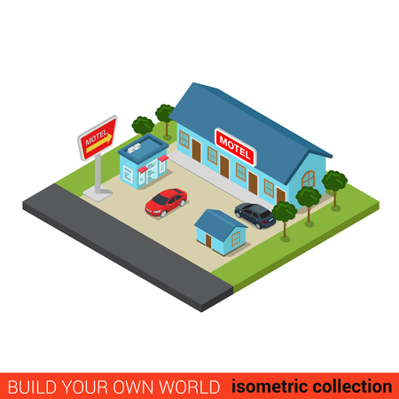 guesthouse: Flat 3d isometric motel building block infographic concept. Travel vacation road trip tourism guesthouse and parking place. Build your own infographics world collection. Illustration