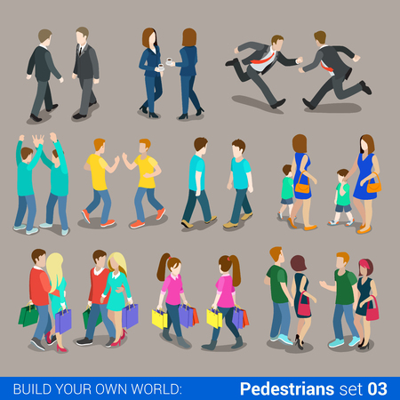 Flat 3d isometrische hoogwaardige stad voetgangers icon set. Mensen uit het bedrijfsleven, jongeren, koppels, die boodschappentassen casual. Bouw je eigen wereld web infographics collectie.