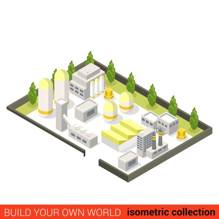 edificio industrial: 3d bloque de construcción de la fábrica isométrica mina a cielo planta industrial de energía concepto infografía plana. abstracta de la industria pesada. Construir su propia colección de infografía mundo.