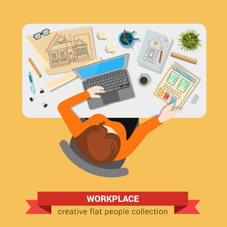 arhitect: Office table top view business flat web infographic concept vector. Architect with sketch drawing laptop workplace. Creative people collection. Illustration