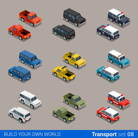 Flat 3d isometrische hoogwaardige stad SUV offroad transport icon set. Auto pickup brandweer politie militaire boerderij vrachtwagen. Bouw je eigen wereld web infographic collectie.
